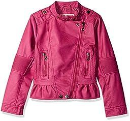 Urban Republic Little Girls\' Faux Leather Moto Jacket, Pink, 5/6