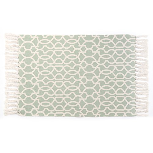 Seavish Cotton Printed Rug, Decorative Green Geometry Tassels Kilim Rug Hand Woven Rag Rug Entryway Thin Throw Mat Non Slip Pad Laundry Room Bedroom Dorm, 24''W x 36''L by Seavish