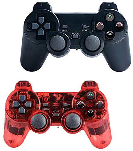 Saloke Wireless Gaming Controller for Ps2 Double Shock (Black and Clear Red)
