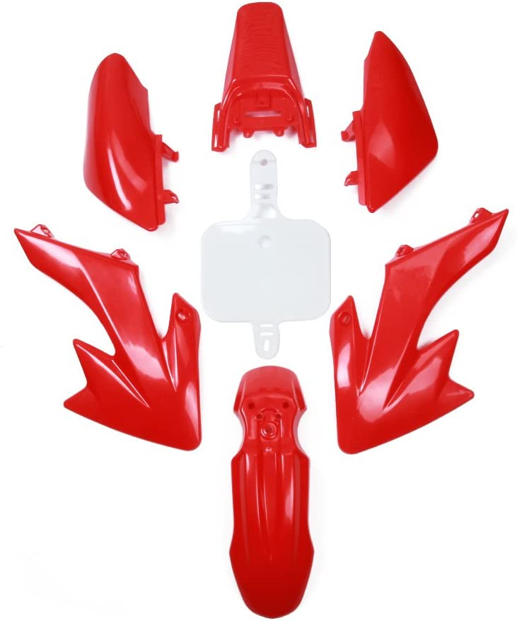 Motorcycle ABS Plastic Fender Kit Body Work Fairing Kit For Honda CRF110 2013-2015 Dirt Pit Bike Red and White