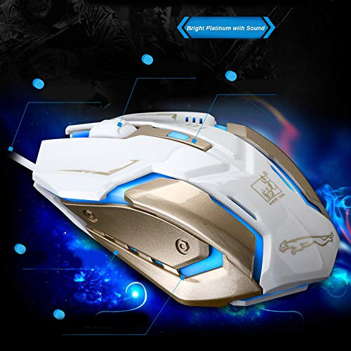 K1 Silent Mute Wired Photoelectric Glow USB Game Mouse Gamer Computer Mice white gold