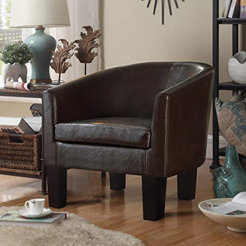 Millbury home Accent Faux Leather Modern Style Club Chair, for for Living Room, Dark Brown