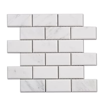 Carrara Carrera Marble White Subway Tile Beveled Brick Mosaic