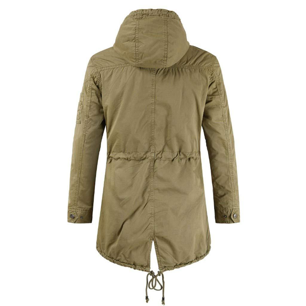 YKARITIANNA Men's Long Jacket Jacket for Leisure Fashion Simple Comfortable Coat 2019 Summer Khaki by YKARITIANNA Clothing (Image #1)