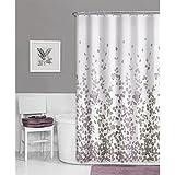 Maytex Sylvia Fabric Shower Curtain, Printed Faux Silk
