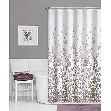 Maytex Sylvia Fabric Shower Curtain, Printed Faux Silk
