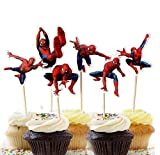 Astra Gourmet 24 PCS Spiderman Birthday Theme Party Decorative Cupcake Topper For Boy's Party Decoration Kid's Birthday Party Decoration Supplies