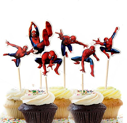 Astra Gourmet 24 PCS Spiderman Birthday Theme Party Decorative Cupcake Topper For Boy's Party Decoration Kid's Birthday Party Decoration Supplies -