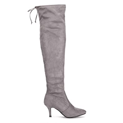 876579a639a Shoe Closet Grey Faux Suede Sock Stretch Kitten Heel Over the Knee Boots  UK6 EURO39