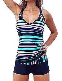 Crazycatz©Women's Sporty Two Piece Tankini Swimsuit