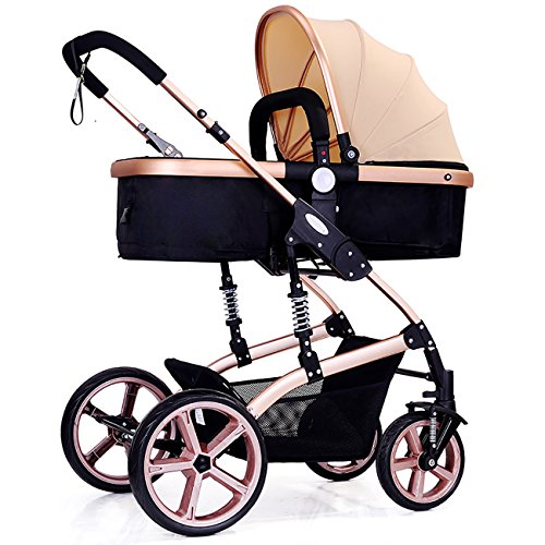 YBL Fashion High View Four-Wheeled Stroller Lightweight Foldable Two-Way Baby Carriage for 0-3 Years Old Newborn Girls Boys