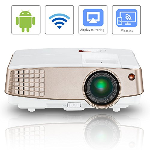 Wireless Screen Mirror LCD Android Projector Portable Support HDMI 1080P Digital 2600 Lumen HD Home Video Projector Airplay Miracast for iPad Mobile Phone LED Mini Proyector USB VGA 3.5mm Audio Out