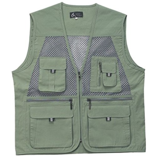 myglory77mall Men's Multi Pockets Fly Fishing Hunting Mesh Vest Outdoor Jacket Wang XL US(3XL tag Asian) Khaki Review