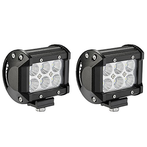 LED Light Bar, Northpole Light [2 Pack] 18W CREE Flood LED Pods LED Work Lights Driving Fog Lights for Off-road, Truck, Car, ATV, SUV, Jeep (Atv Waterproof Lights Led)
