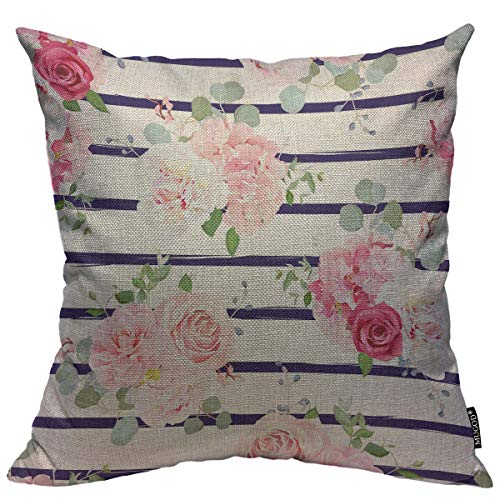 (Mugod Red and Pink Rose Throw Pillow Cover White Peony Camellia Hydrangea Blue Berries Eucalyptus Leaves Pattern Home Decorative Square Pillow Case for Bedroom Living Room Cushion Cover 18x18 Inch)