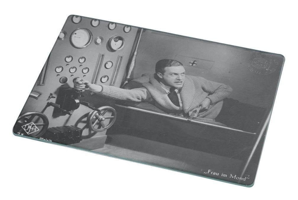Rikki Knight RK-LGCB-3712 Vintage Movie Posters Art Women on Moon 1 Glass Cutting Board, Large, White