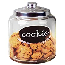 HOME BASICS Cookie Jar with Metal Top, Clear,9.50 by 7.50 by 7.50-Inch