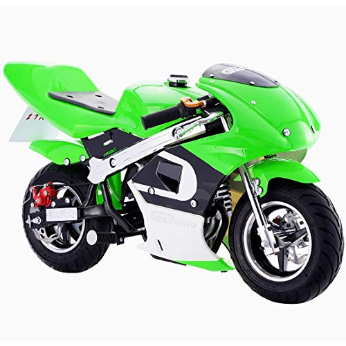 Superrio Gas Mini Pocket Bike Motorcycle 40cc 4-Stroke Engine (Green) ()