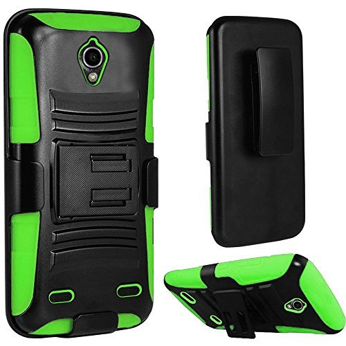 ZTE ZMAX 2 Z955L Z958L (AT & T, Tracfone), LF Hybrid Armor Stand Case with Holster and Locking Belt Clip, Stylus Pen & Droid Wiper Accessory (Holster Green)