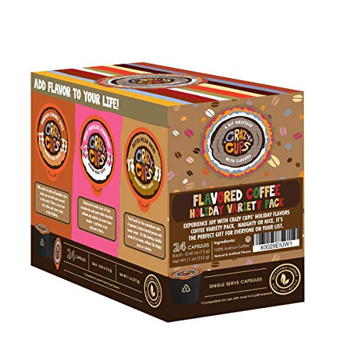 Crazy Cups Flavored Hot or Iced Coffee, for the Keurig K Cups Coffee 2.0 Brewers, Variety Pack, 24 Count