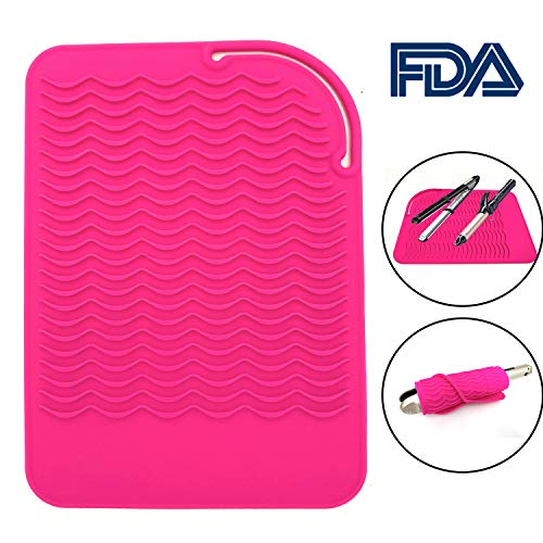 Heat Resistant Mat for Curling Irons, Hair Straightener, Flat Irons and Hair Styling Tools 9 x 6.5, Food Grade Silicone, Pink