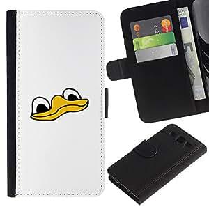 Samsung Galaxy S3 III i9300 i747 - Dibujo PU billetera de cuero Funda Case Caso de la piel de la bolsa protectora Para (Cute Funny Duck Face)