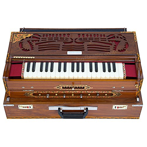 Scale Changer Harmonium, Maharaja Musicals, In USA, Triple Reed, 9 Scale Changer, 3 3/4 Octave, Natural, Teak Wood, Coupler, Book, Bag, Tuned to A440, Indian Musical Instrument Calcutta (GSB-AGI)