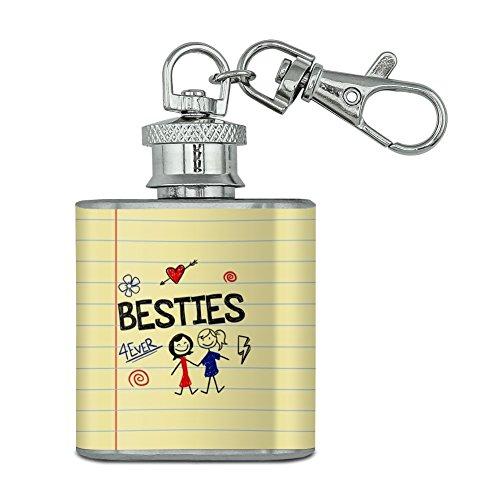 Besties Best Friends Stainless Steel 1oz Mini Flask Key Chain