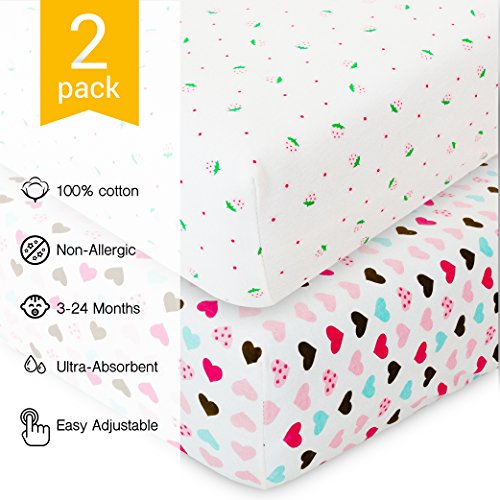 Crib Sheets for Baby - 2 Unisex Bedding Sheet Set - 100% Organic Fitted Jersey Cotton - Bed Mattress Cover - For Boys and Girls - Infant & Toddler - Hearts & Berries - Great Baby Shower Gift (Organic Bedding Set)