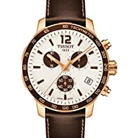 Tissot Unisex Brown Leather Band Gold Tone Steel Bracelet Swiss Quartz White Dial Watch