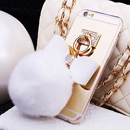 DStores for iPhone 7 Plus 5.5 inch Case, Gold Cute Mirror Electroplate PC Back Cover + TPU Bumper Shock Absorption Technology Case,Ring Metal Fur Ball Pendant
