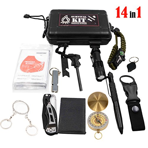 Outdoor Survival Kits 14 in 1 Emergency SOS Survive Tool for Wilderness/Trip/Cars/Hiking/Camping gear - Wire Saw, Emergency Blanket, Flashlight, Tactical Pen, Water Bottle Clip, Paracord ect.
