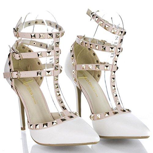 Caviglia Scarpe Cinghia Da Bianco Donna Tacco Punta Alto Spillo Pompe Aguzza Sirena q61ZwA
