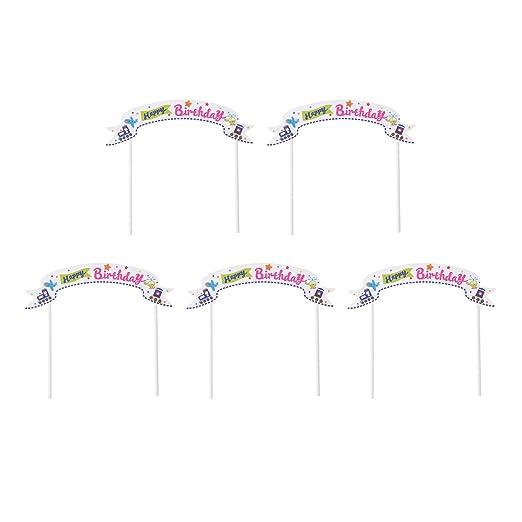 BESTOYARD - 5 Adornos para Tartas de cumpleaños, diseño de ...