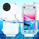 HAWEEL iPhone 7/ 8 Diving Case Professional [40m/ 130ft] Surfing Swimming Snorkeling Photo Video Waterproof Protective Case Underwater Housing with Lanyard (iPhone 7/ 8, White)