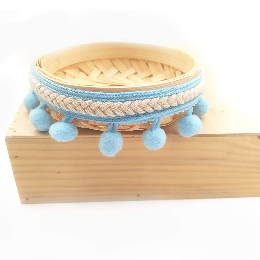 RONSHIN 3Yard Ethnic Style Trim Ribbon 1.2CM Pom Pom Ball Crafts Lace DIY Curtain Dress Sewing Bean Pink 3 Yards