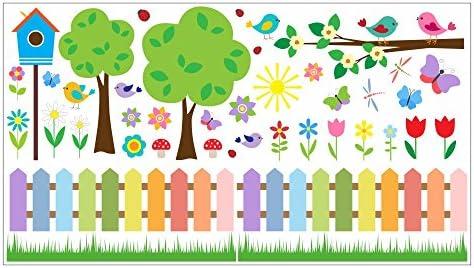 nikima - 073 Wandtattoo Wandbild Kinderzimmer bunter Garten ...