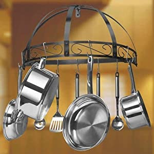 wall mounted hanging kitchen pan pot rack organizer wrought iron black 12 pans