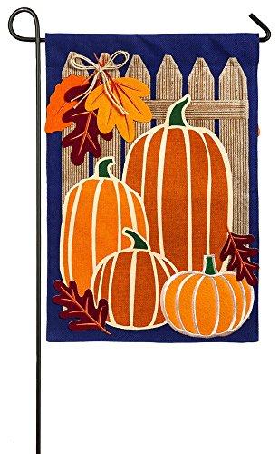 UPC 808412449710, Evergreen Autumn Pumpkin Patch Burlap Garden Flag, 12.5 x 18 inches