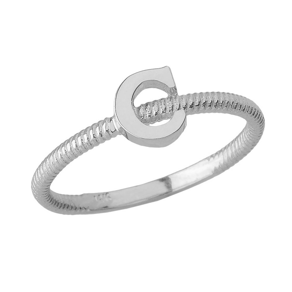 Women's 925 Sterling Silver ''C'' Initial Stackable Rope Design Ring (Size 4.5)