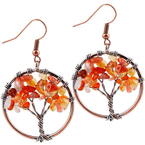 Red Carnelian Earrings (SUNYIK Red Carnelian Tree of Life Dangle Earrings for Women(Copper Color))