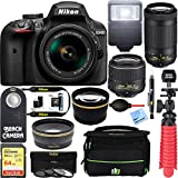 Nikon D3400 24.2 MP DSLR Camera + AF-P DX 18-55mm & 70-300mm VR NIKKOR Lens Kit + Bundle 64GB SDXC Memory + Photo Bag + Wide Angle Lens + 2x Telephoto Lens + Flash + Remote +Tripod+Filters (Black)