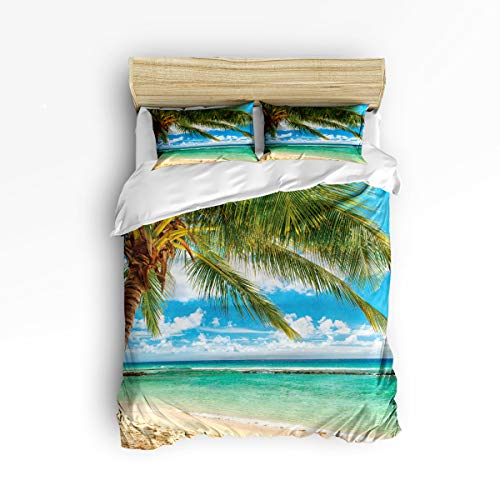 3 Piece Polyester Fabric Bedding Set with Zipper Closure King Size, Beach Wind Wave Coconut Tree Comforter Cover Set Duvet Cover with 2 Pillow Shams for Girls/Boys/Kids/Children/Teen/Adults