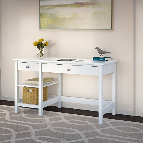 Bush Furniture Broadview Computer Desk with Shelves in Pure White -