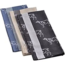 """Mahogany """"Cow"""" Jacquard Kitchen Towel, 100Percent Cotton, Set of 3, Each 18-Inch by 28-Inch"""