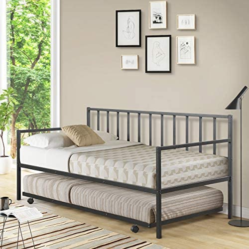Giantex Twin Size Daybed and Trundle Frame Set