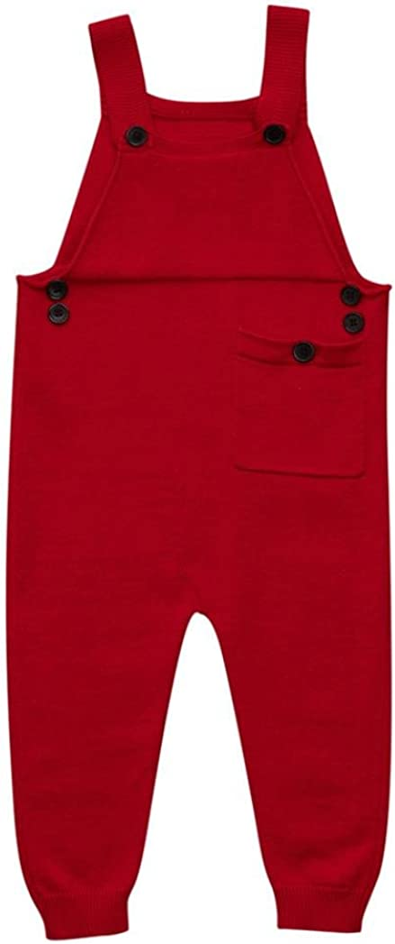 Fineser TM Toddler Baby Boys Girls Knitted Overalls Strap Rompers Jumpsuit Kids Warm Playsuit Outfits