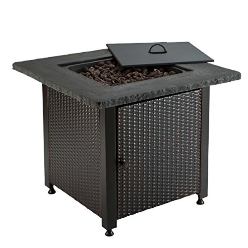 Cheap  Blue Rhino Outdoor Propane Gas Fire Pit 50K BTU (Lava Rocks, Wicker)