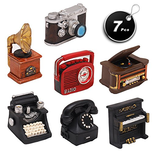 (X Hot Popcorn Set of 7 Creative Retro European Resin Figurin for Home Cafe Bar Window Decoration Children Toys and Gift (Incluing Telephones Typewriter Camera Piano Phonograph Radio and Sound Player))