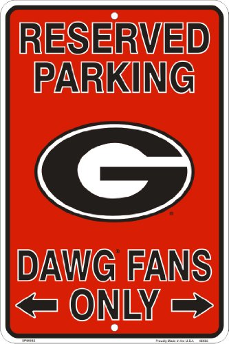 Georgia Bulldogs Fans Reserved Parking Sign Metal 8 x 12 embossed
